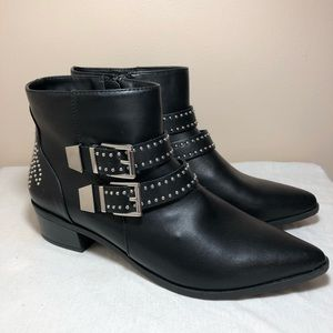 Express black studded moto booties size 9